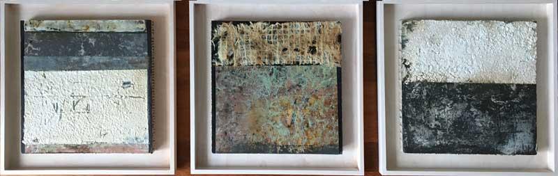 Strukturen Tryptichon  ...   Steinmehle, Acryl auf Wabenplatte   ...   3 x 30 x 30 cm (im Rahmen 40 x 40 cm)