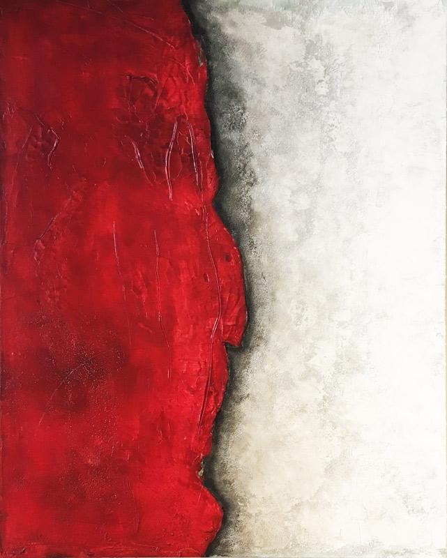 Schicht in Rot   ...   Steinmehle, Acryl und Öl auf Leinwand   ...   80 x 100 cm
