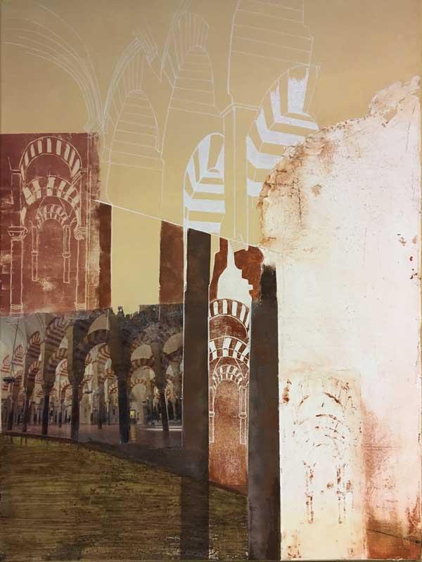 Cordoba   ...Mixed Media auf Leinwand, Zeichnung, Fototransfer, Linoldrucke, Collage, Sumpfkalk   ...    60 x 80 cm
