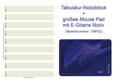 Bundle: TAB-Block mit großen Linienabständen + Mousepad für Gitarristen (TMP03)