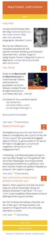 Screen: andresen.de im mobile view