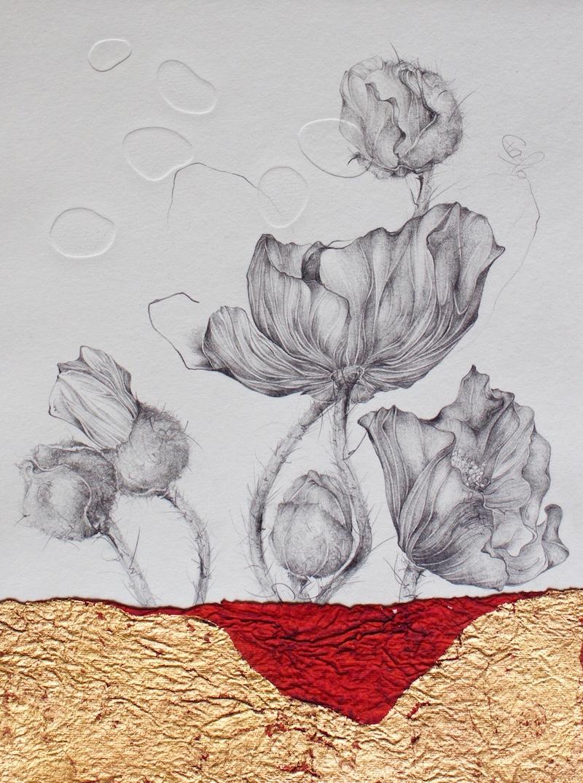 Familie-Blindprägedruck mit Bleistiftzeichnung,Naturpapier,Rosè-Blattgold-2016-33cmx25cm