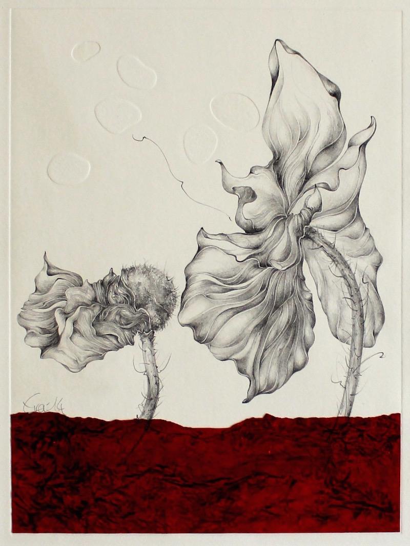 Geborgenheit-Blindprägedruck mit Bleistiftzeichnung,Naturpapier-2014-33cmx25cm