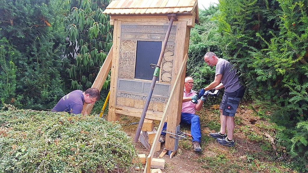 11 Mit Schrauben und Zwingen wird das Insektenhotel auf die Eisen montiert