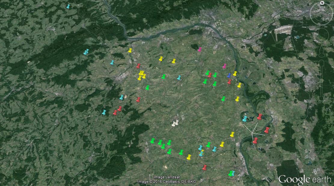 Übersicht der bekannten Standorte und Bruten 2015