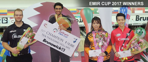 The Emir Cup 2017: Champion - Jassim Al-Muraikhi of Qatar, Francois Louw (South Africa) - 2nd Place, Siti Safiyah (Malaysia) - 3rd Place, and Ng Lin Zhi Shayna (Singapore) - 4th Place.