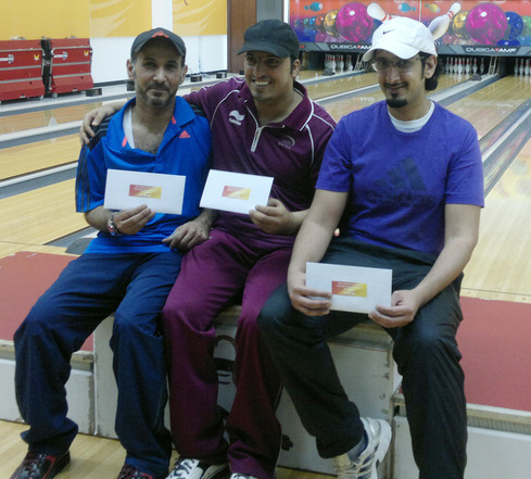Ramadan Tournament 2012 Winners for Division A -1st Placer Khalid Al Doseri (Center), 2nd Placer - Jamal Nasser Al Sahoti (Left), and 3rd Placer- Mansour Al Awami (Right)
