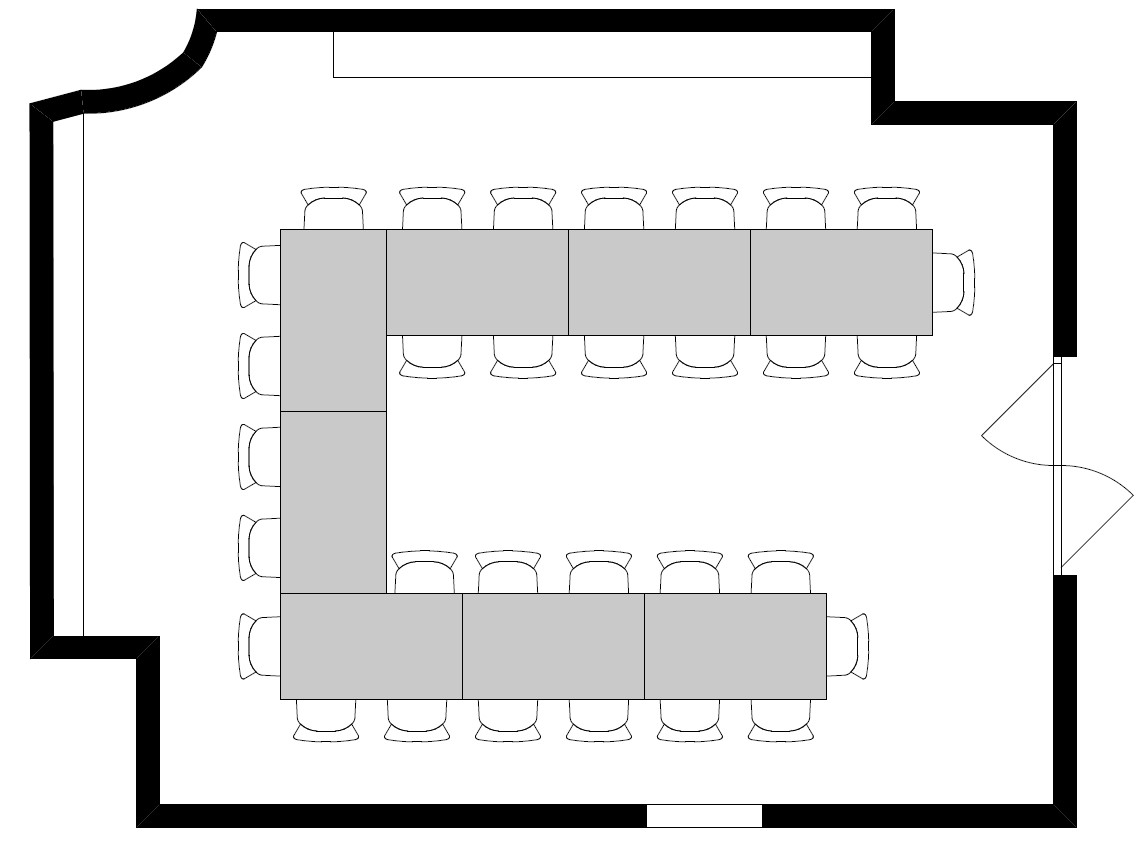 Variante 4: Hufeisen (8 Tische / 31 Personen)
