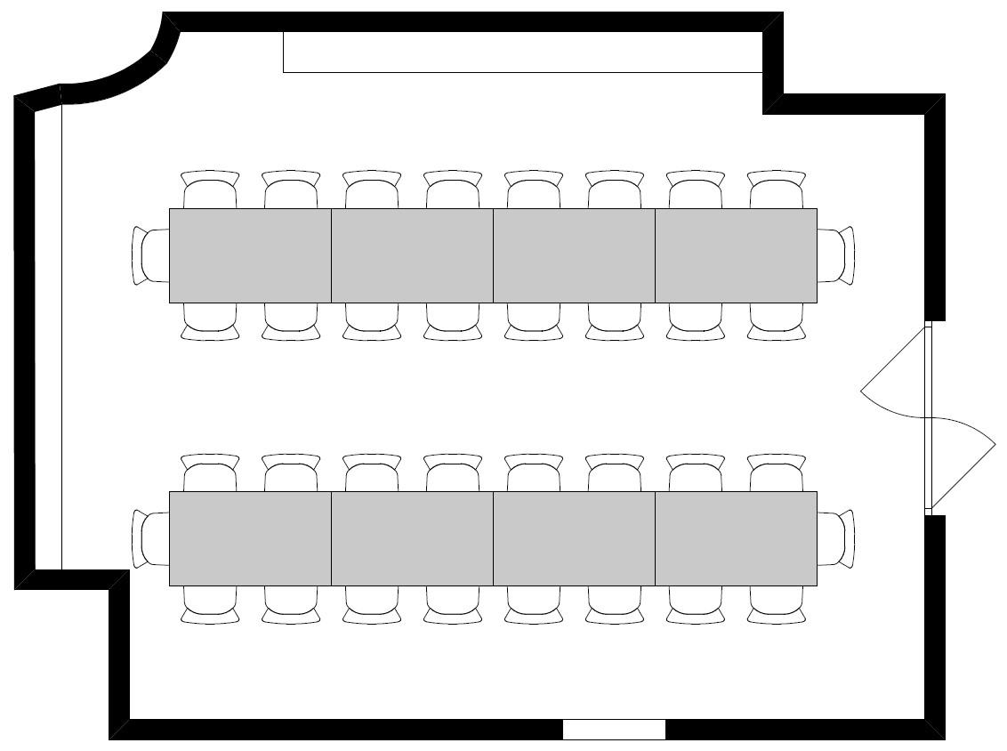 Variante 1: Doppelreihe (8 Tische / 36 Personen)