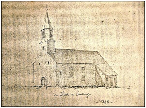 historische Zeichnung der Kirche vor deren Erweiterung um 1828