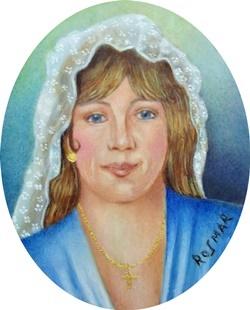 Spanish Girl with Mantilla 6 x 5 cm