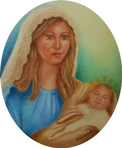Virgin and Child 7 x 6 cm
