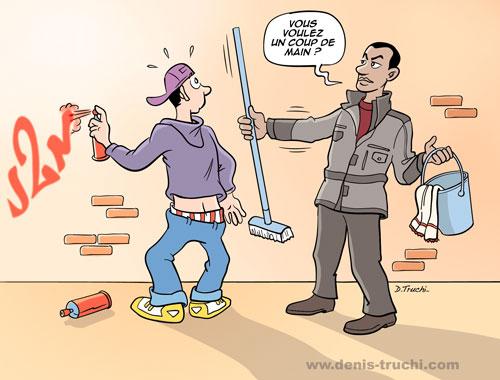 """Campagne de communication pour les gardiens d'immeubles : """"graphitis"""""""