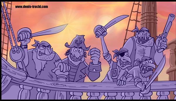 """Illustrations réalisées pour le clip en animation Flash : """"Voilà les pirates"""""""