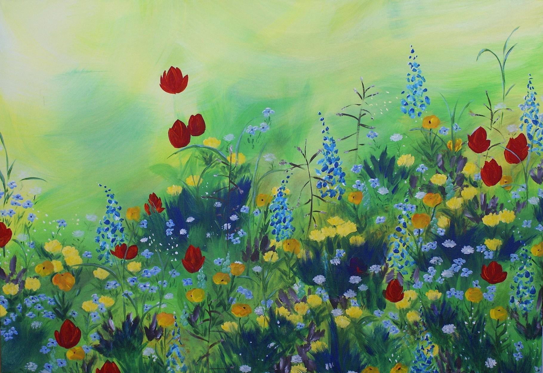 Blumenwiese - 70 x 100  - Acryl auf Leinwand