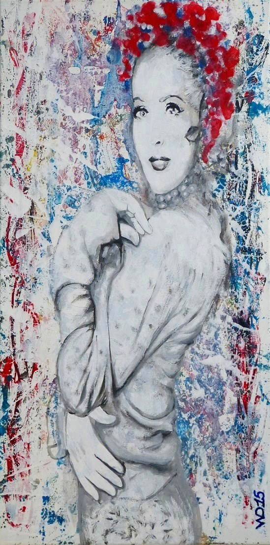 Unsichtbare blümige -  40 x 80cm Acrylfarbe, Schlussfirnis  180€