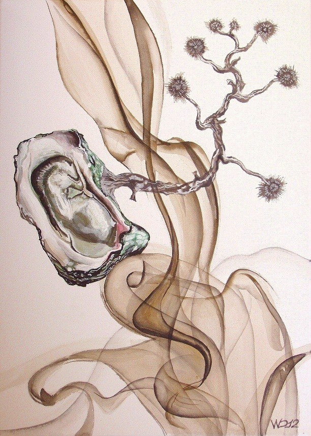 Auster auf der Flucht - 50 x 70 cm Acrylfarbe, Schlussfirnis   120€