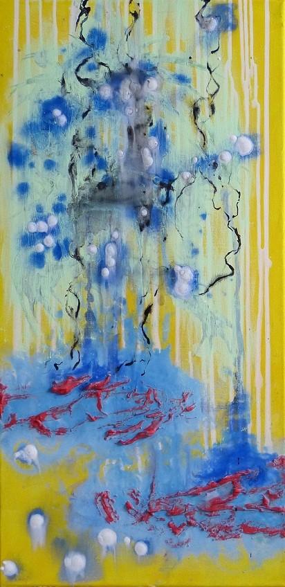 WEISSE ENGELS UM DEN BLUEBAUM - 40 x 80cm Acrylfarbe, Strukturpaste, Leinwand, Schlussfirnis  100.00 €