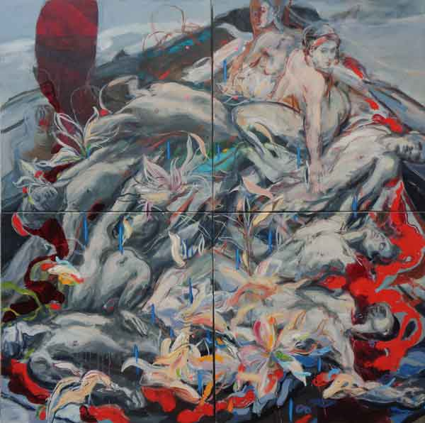 Floss, Oi on canvasl, 180 x 180cm, 2016