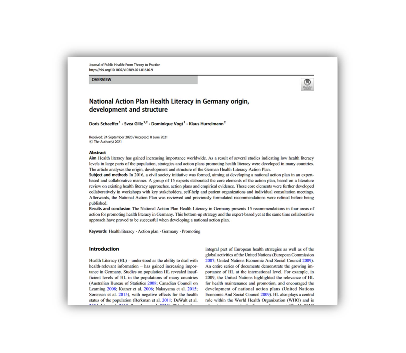 Artikel zur Entstehung, Entwicklung und Struktur des Nationalen Aktionsplans