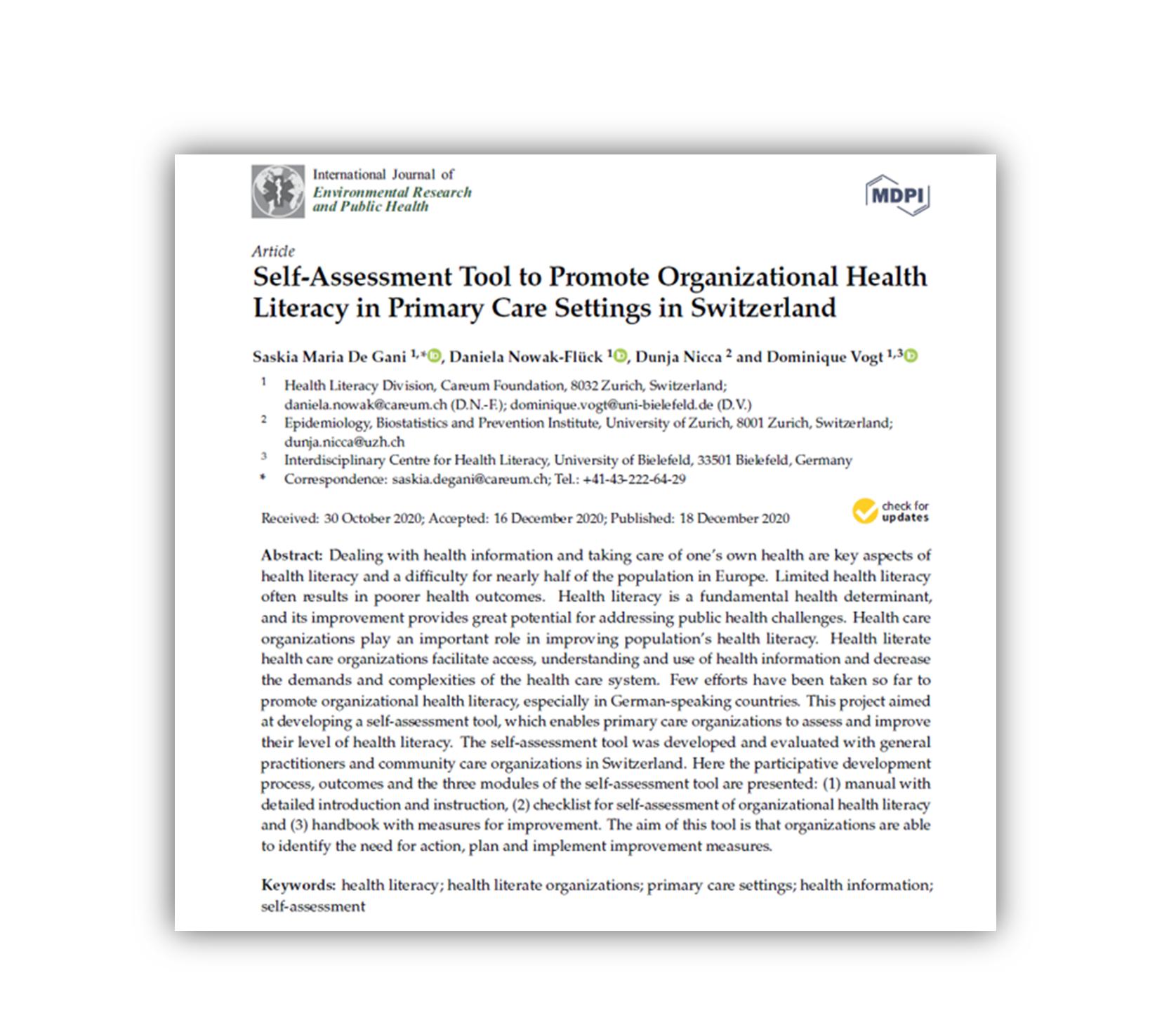 Artikel zu organisationaler Gesundheitskompetenz erschienen