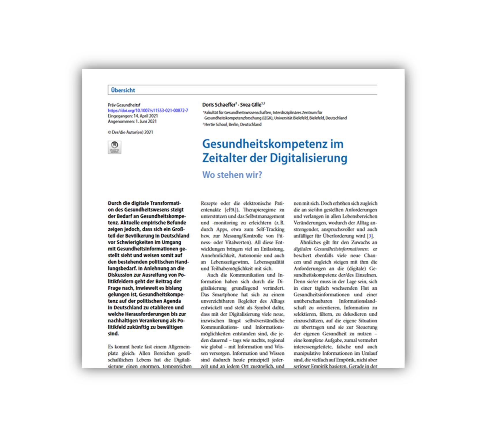 Artikel zur Gesundheitskompetenz im Zeitalter der Digitalisierung