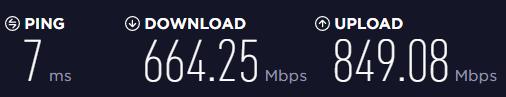 有線LAN 速度測定 1Gbps