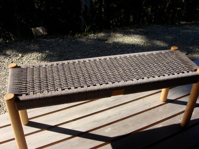 ナラ 丸脚ペーパーコードベンチ W1,100  D330  SH420  ¥90,300