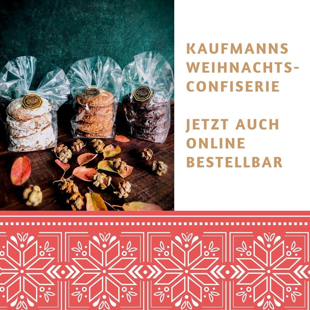 Bei KAUFMANNS Kaffeerösterei gibt es on- und offline leckere Weihnachtsconfiserie