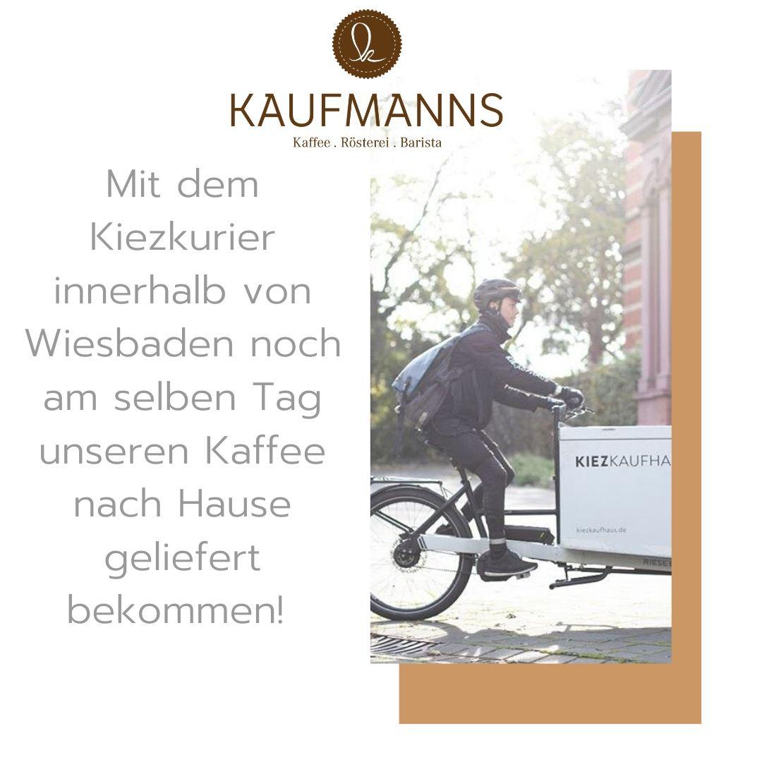 KAUFMANNS Kaffeerösterei arbeitet mit Kiezkurier Wiesbaden zusammen und liefert Kaffee mit dem Fahrrad zu dir nach Hause