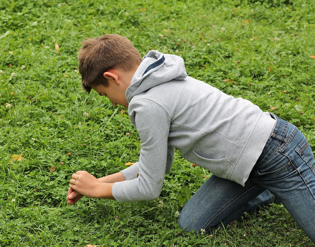 Wenn Kinder die Natur auf den Knieen erforschen ...