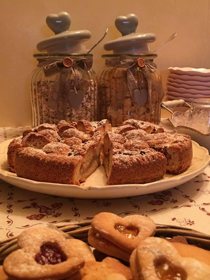 Colazione, torta di ricotta e amaretti, buffet del bed and breakfast Monti del Sole