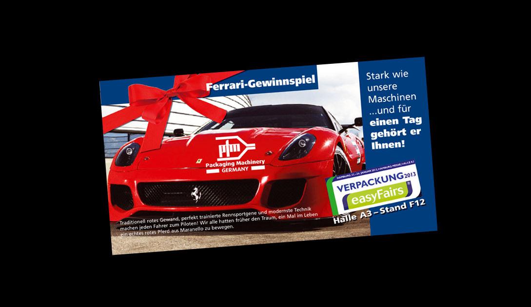 Messeeinladung mit Gewinnspiel für PFM Verpackungsmaschinen (italienische Schlauchbeutelmaschinen)