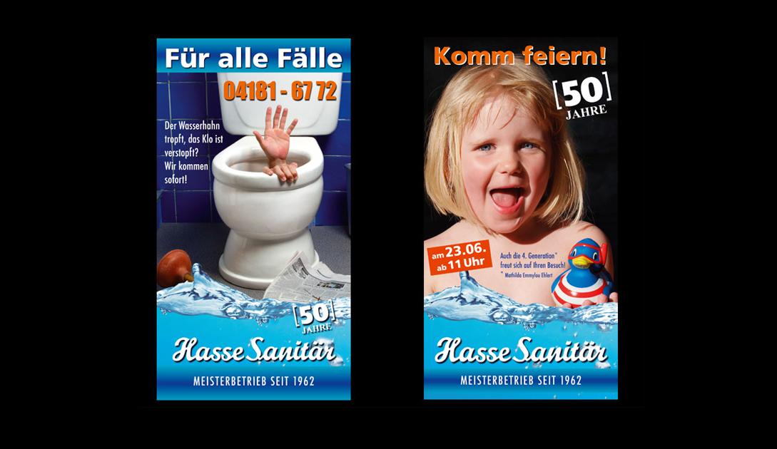 """Maxikarten für """"Hasse Sanitär"""" (Kundendienst + Jubiläum)"""
