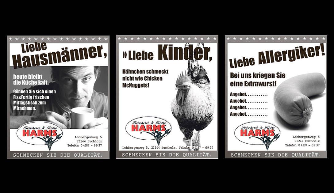 Anzeigenkonzept für Fleischerei und Bistro Harms (Layout)