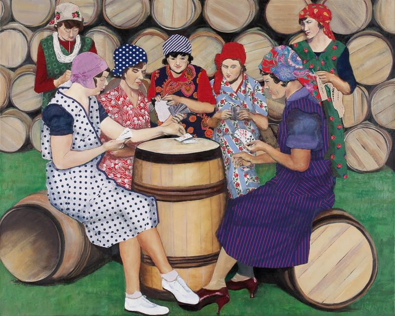 Die Heringsmädchen in der Pause | 2012 | 100 x 120 cm | Öl-Textil auf Baumwolle