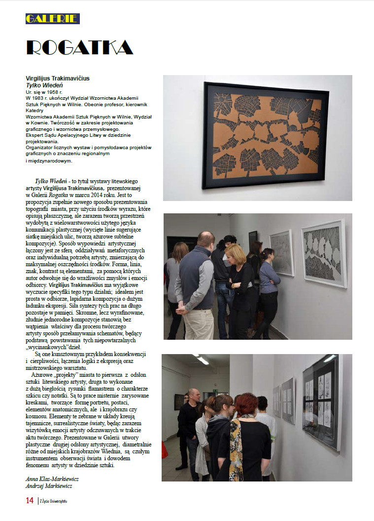 An article about a solo paper cutting exhibition held at the Radom University gallery, Poland, 2014