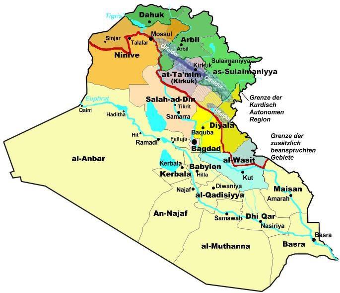 Autonome Region Kurdistan (Quelle Informationsstelle für Militarisierung Dez. 2005, grün: per irakischer Verfassung zugesichert, rot: zusätzlich beanspruchte Gebiete)