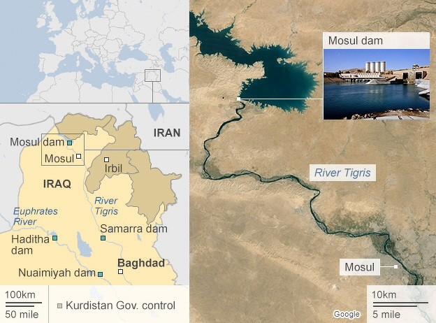 Staudämme im Irak (Quelle: BBC 16. August 2014)