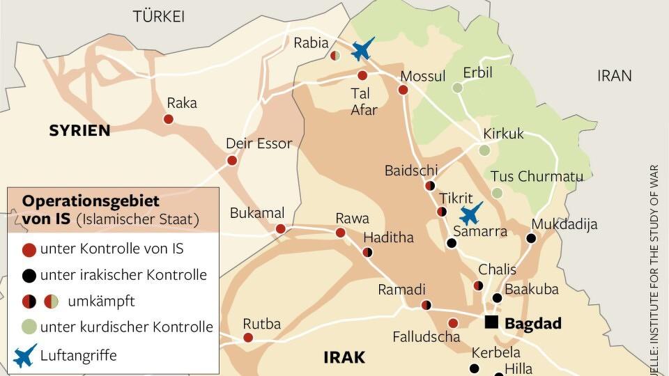 Operationsgebiet von IS (Quelle: Die Welt vom 22. August 2014)