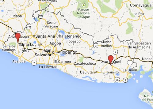Unsere Route durch El Salvador