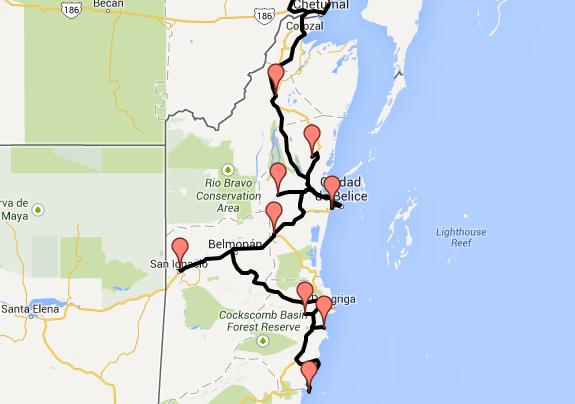 Route durch Belize