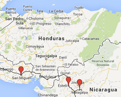 Unsere Route durch Honduras