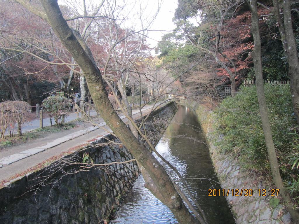 3.哲学の道   京都帝国大学教授の哲学者、西田幾太郎が思索にふけりながら歩いたと言われる疎水沿いの小径です。