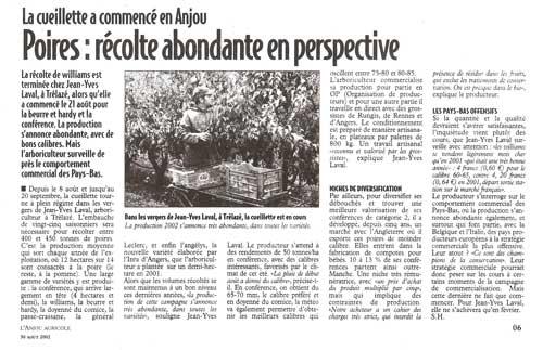Anjou Agricole - Août 2002