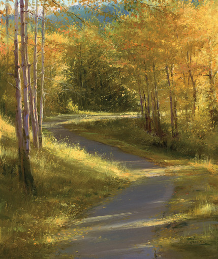 「金色に輝く道」 60x50cm