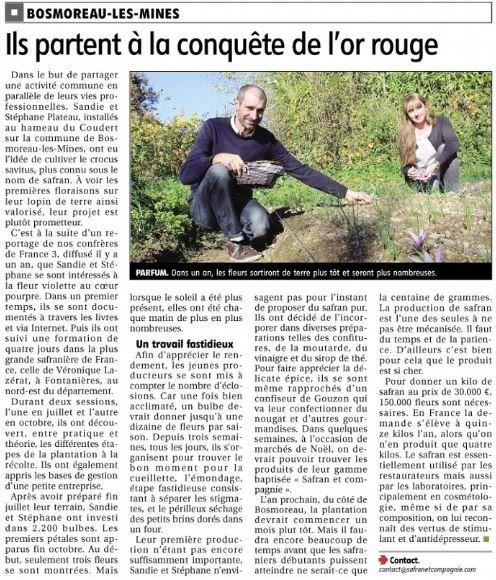 Article paru dans le journal La Montagne, 15 novembre 2015