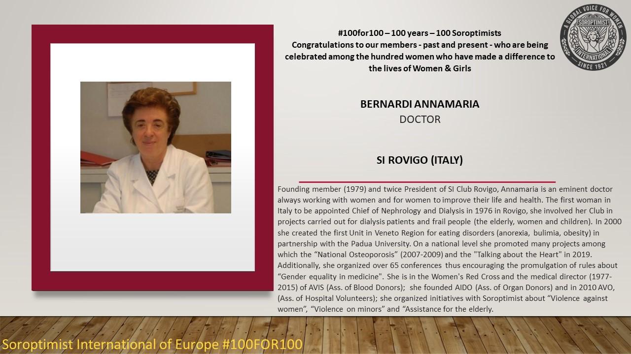 Anna Maria Bernardi tra le 100 donne d'Europa