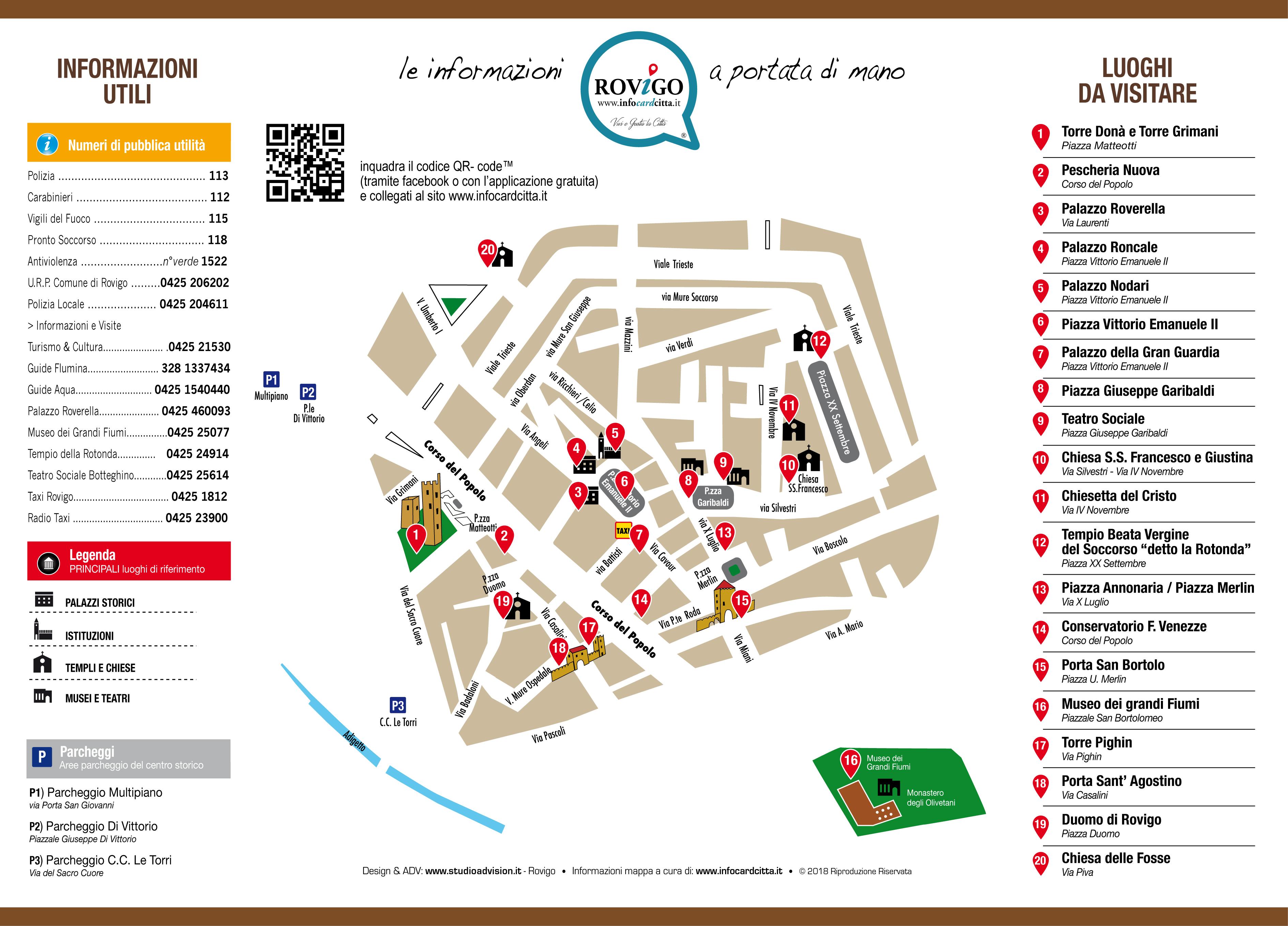 Mappa di Rovigo, infocardcitta, pianta della città