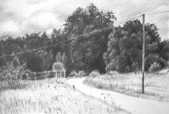 """""""Wegbiegung Atzenhof,"""" Bleistift auf Papier, 60 x 40 cm, 2012"""